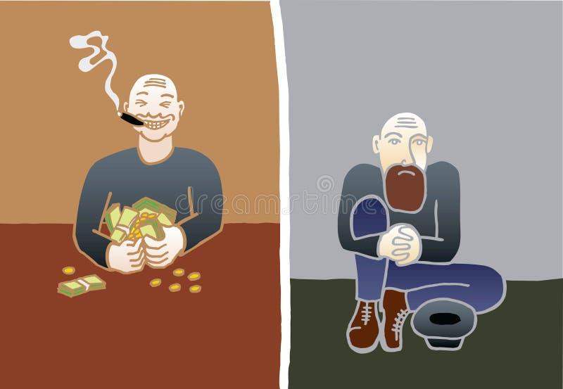 Riches et pauvres illustration de vecteur