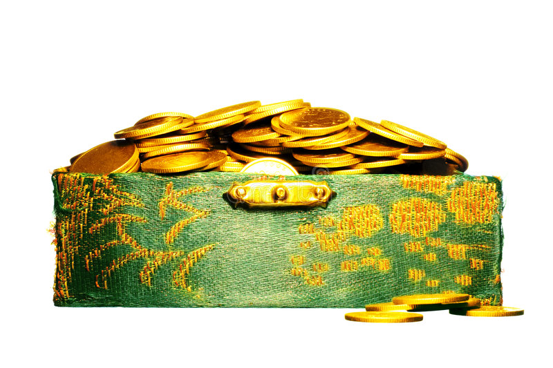 Riches, gold coins in a chest. Isolated on white royalty free stock image