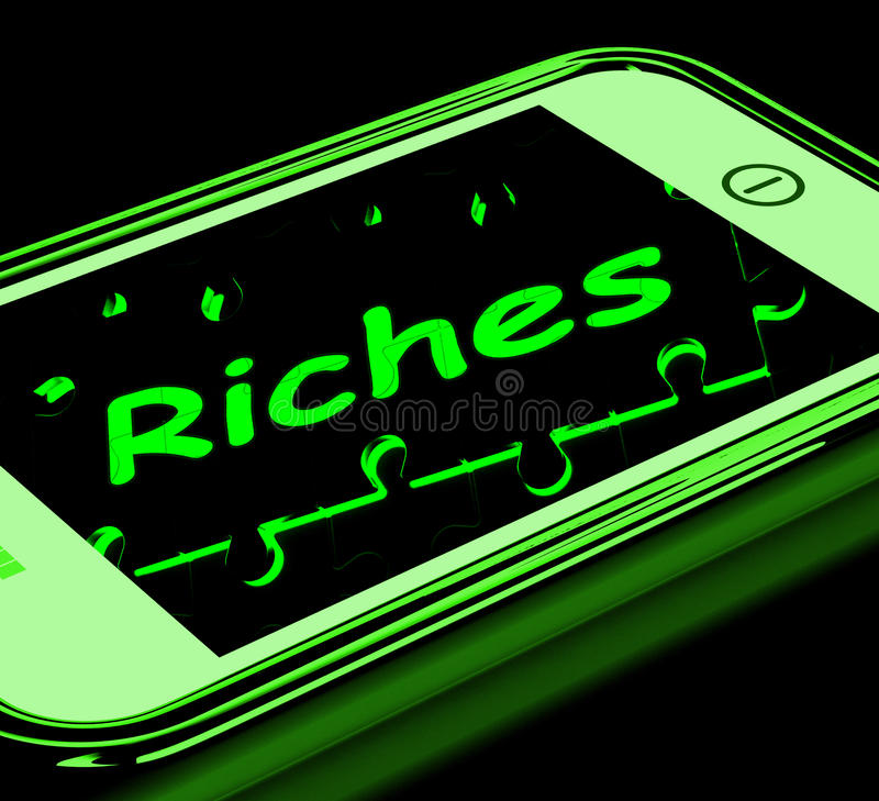 Download Riches On Smartphone Showing Wealth Stock Illustration - Image: 28263174