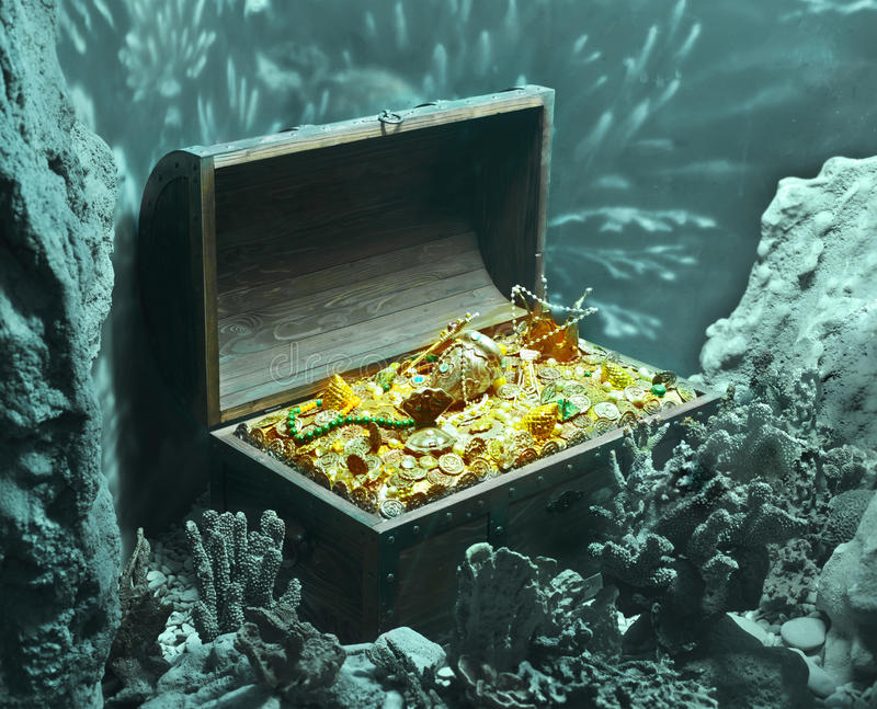 Riches. Underwater treasure, big aquarium decoration stock image