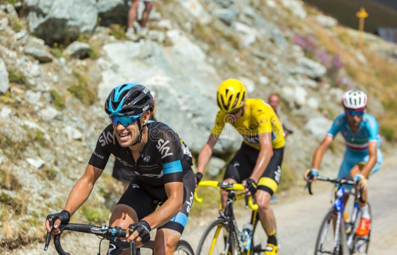 Richie Porte on the Mountains Roads - Tour de France 2015. Col de la Croix de Fer, France - 25 July 2015: The Australian cyclist Richie Porte of Team Sky stock photography