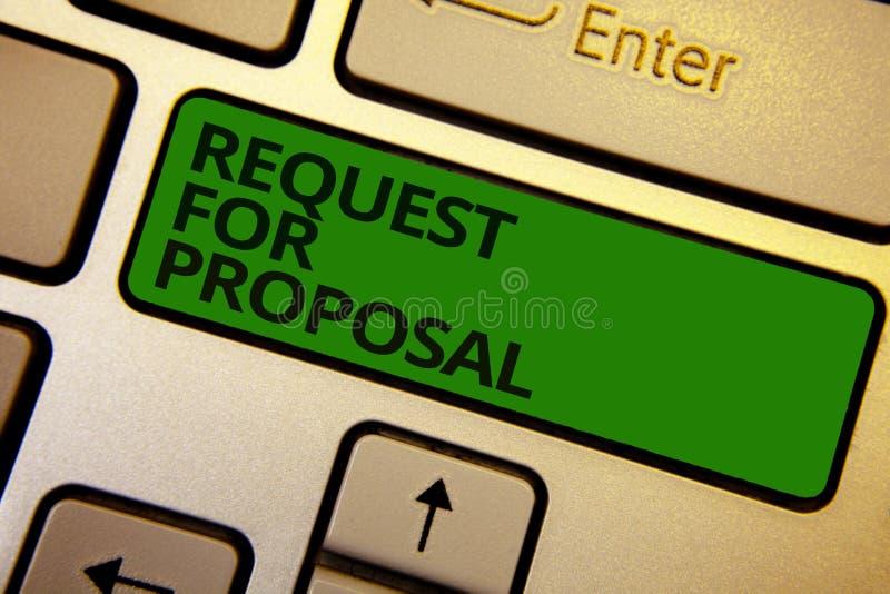 Richiesta del testo di scrittura di parola per la proposta Il concetto di affari per il documento contiene il processo di offerta immagini stock
