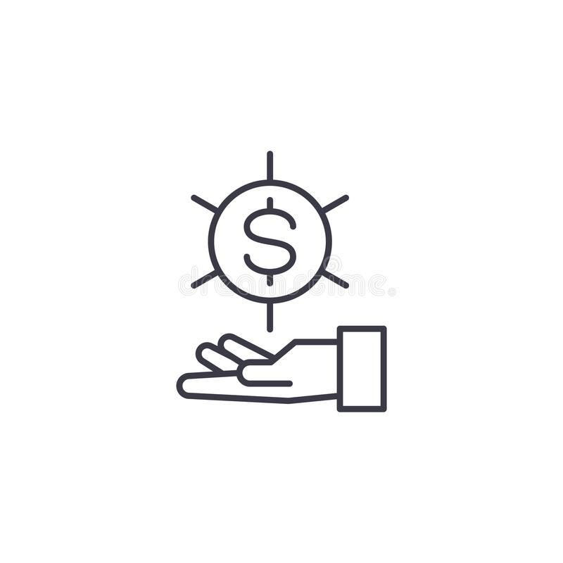 Richiesta per il concetto lineare dell'icona dei fondi La richiesta per i fondi allinea il segno di vettore, simbolo, illustrazio illustrazione vettoriale