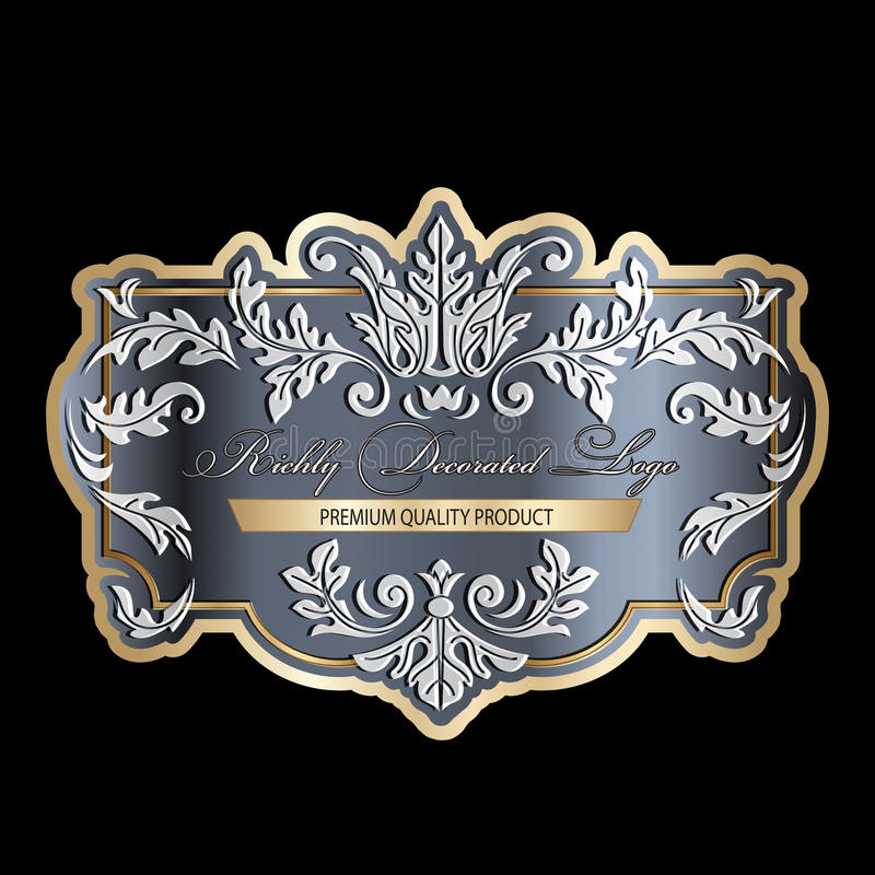 Richly decorated vintage baroque scroll design frame floral decoration with inscription premium quality. Retro style filigree royalty free illustration