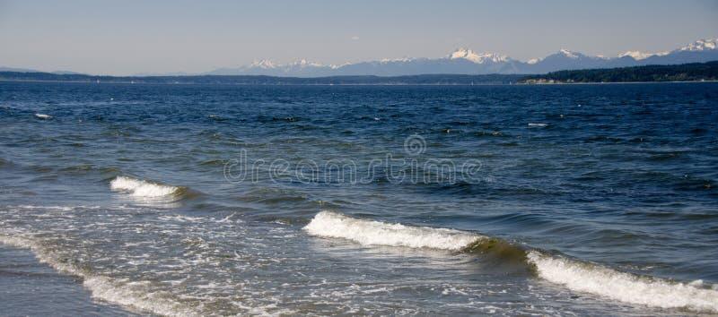 Richmond Beach Saltwater park horizon line. Shoreline, near Seattle royalty free stock photo