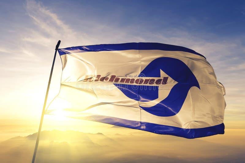 Richmond of California of United States flag waving on the top. Richmond of California of United States flag waving stock photo