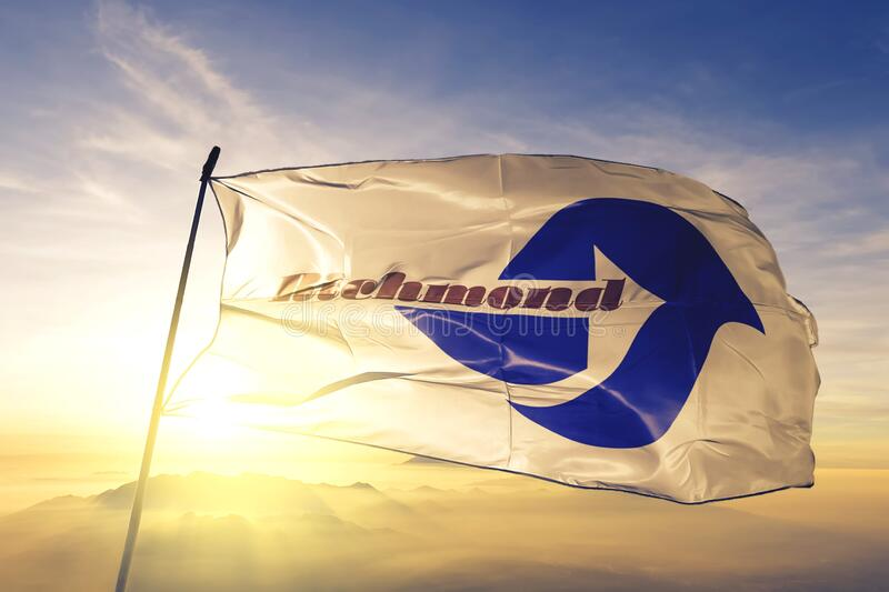 Richmond of California of United States flag waving on the top. Richmond of California of United States flag waving royalty free stock images
