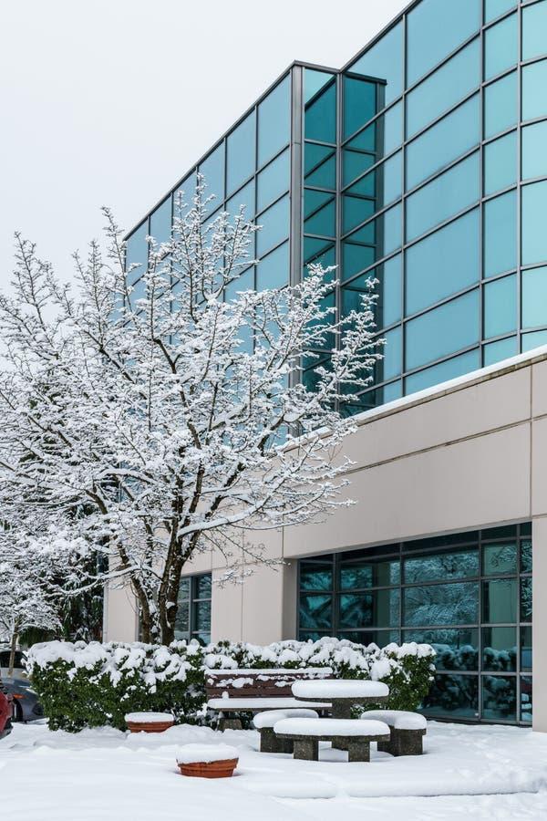 Richmond, CANADÁ - 12 de febrero de 2019: Coches parqueados cerca del edificio de oficinas cubierto con nieve en invierno fotografía de archivo
