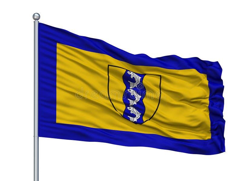 Richmond City Flag On Flagpole, Canadá, provincia de la Columbia Británica, aislada en el fondo blanco stock de ilustración