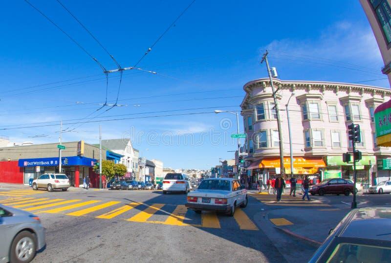 Richmond esterna a San Francisco con nei precedenti sotto fotografia stock libera da diritti
