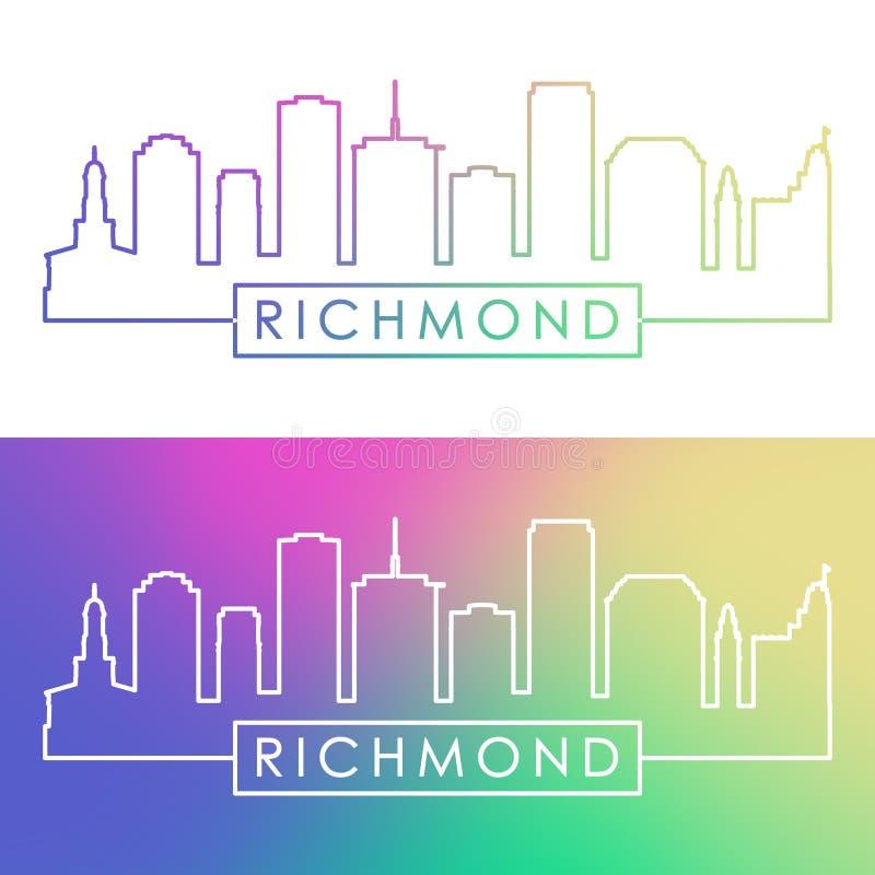 Richmond linia horyzontu Kolorowy liniowy styl ilustracja wektor
