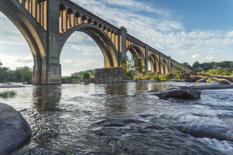 Richmond Railroad Bridge Over James-Rivier stock foto's