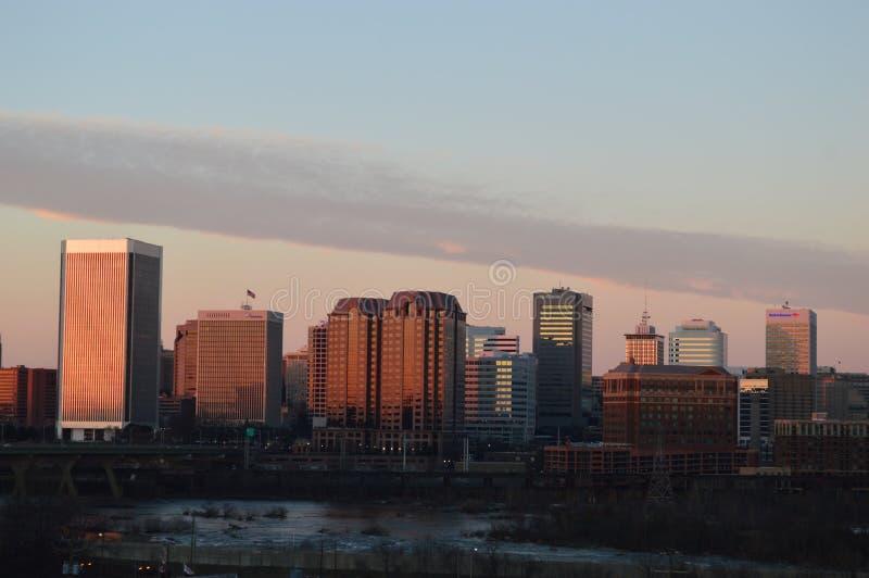 Richmond, Virginia en la puesta del sol fotografía de archivo
