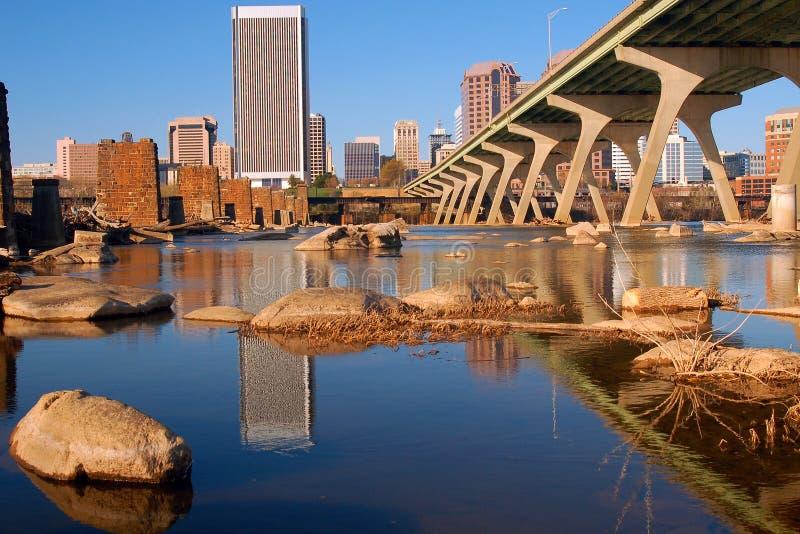 Richmond Virginia och James River royaltyfria foton