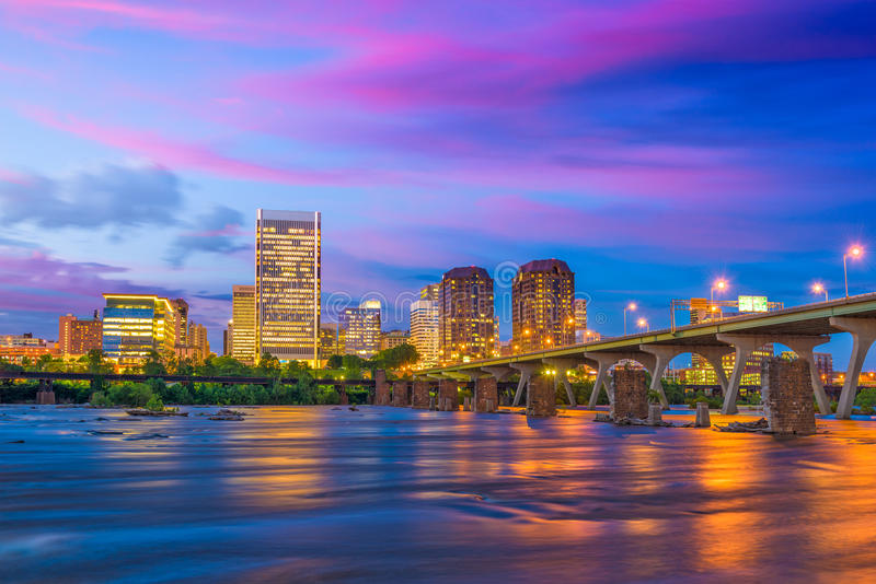 Richmond, Virginia River Skyline stockbild