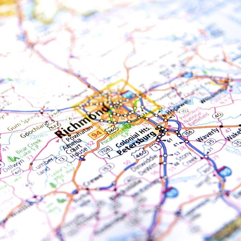 Richmond Virginia Road Map fotografía de archivo
