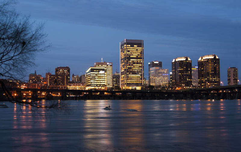 Richmond Virginia Skyline at night royalty free stock images