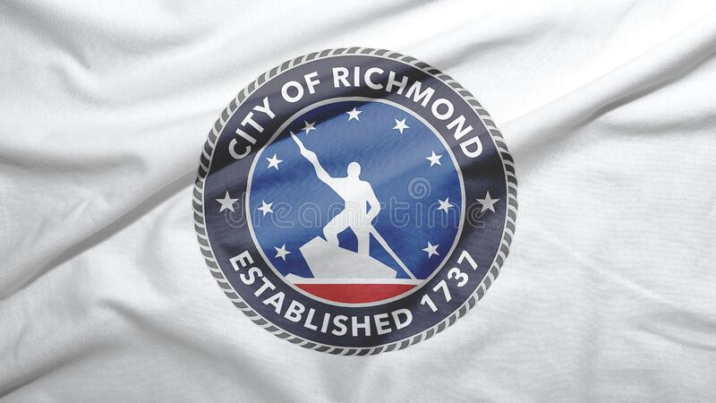 Richmond of Virginia of United States flag background. Richmond of Virginia of United States flag on the fabric texture background royalty free stock images