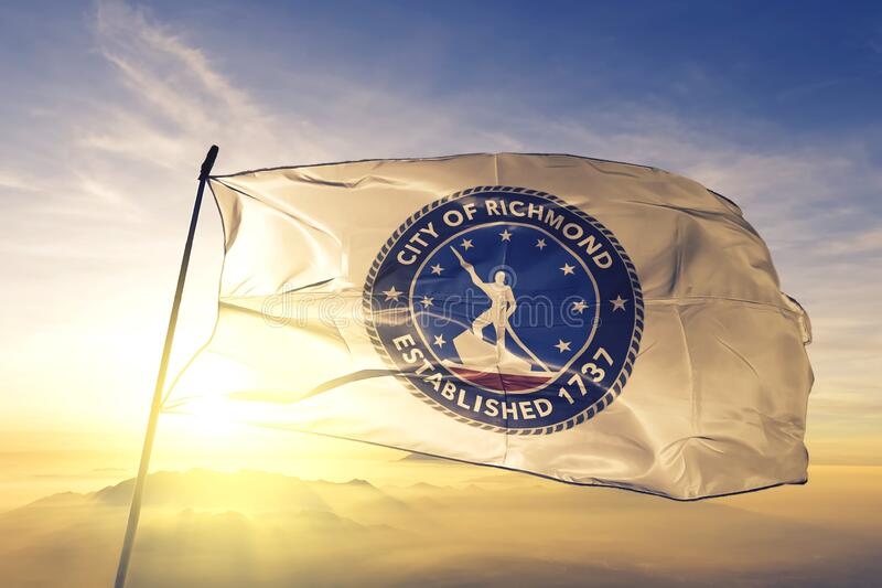 Richmond of Virginia of United States flag waving on the top. Richmond of Virginia of United States flag waving royalty free stock images
