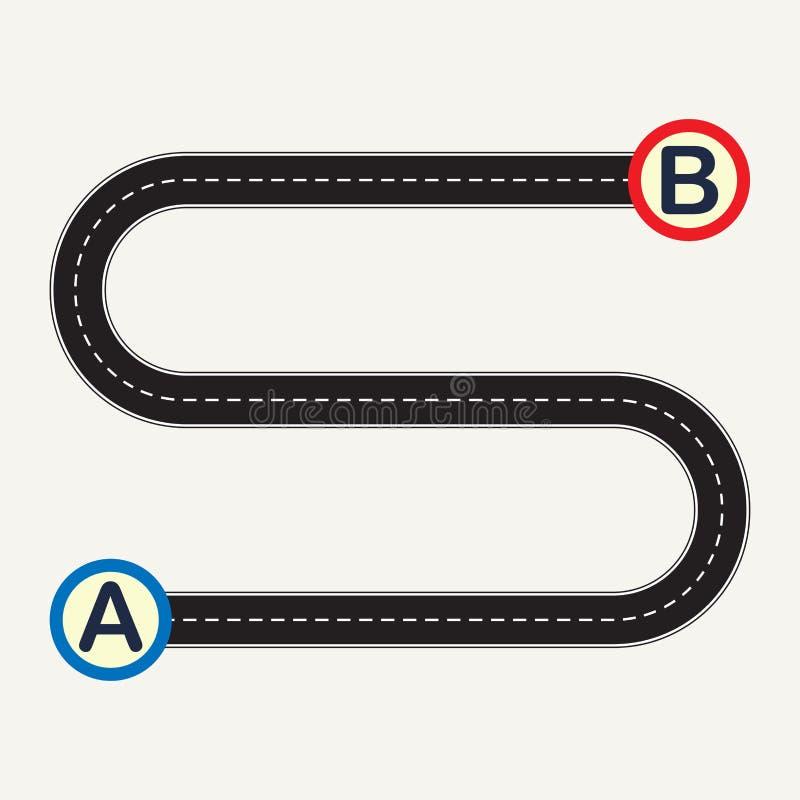 Richt A aan punt B met het winden van weg Vector illustratie royalty-vrije illustratie