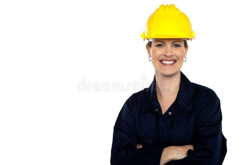 Richtende bouwvakker. Vrolijk portret royalty-vrije stock afbeelding