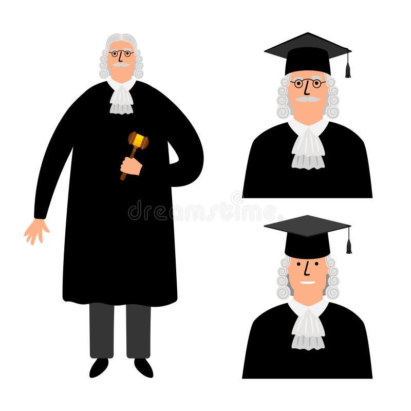 richter Διανυσματική απεικόνιση δικαστών κινούμενων σχεδίων, νομικός χαρακτήρας δικαστηρίων στο μανδύα που απομονώνεται στο λευκό ελεύθερη απεικόνιση δικαιώματος
