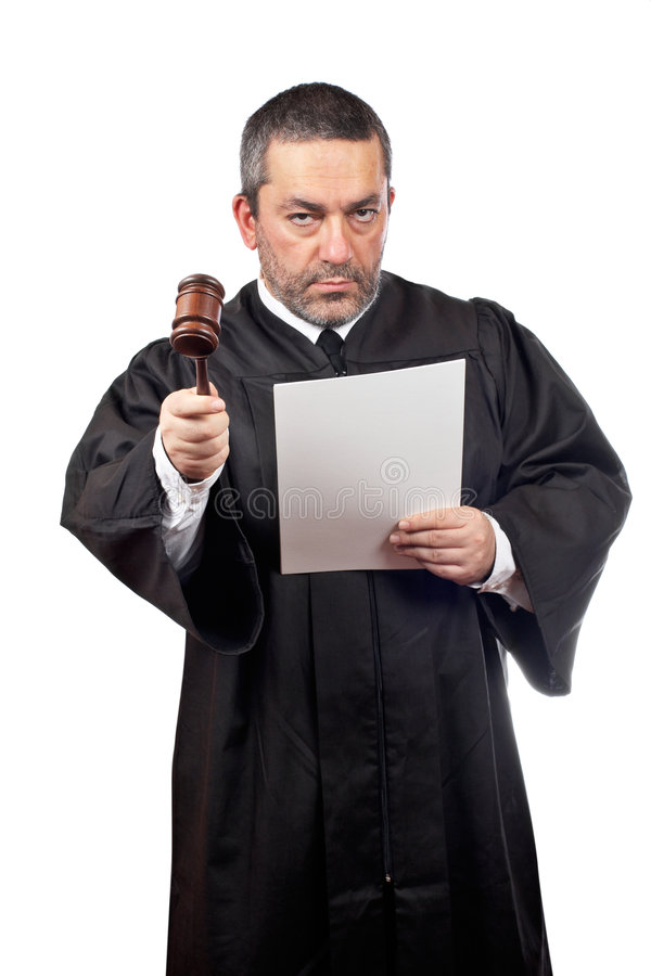 Richter, der einen Programmsatz liest lizenzfreies stockbild