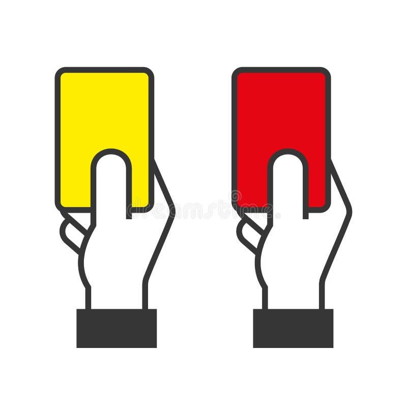 Richter Hands Holding Red und gelbe Karten Vektor vektor abbildung