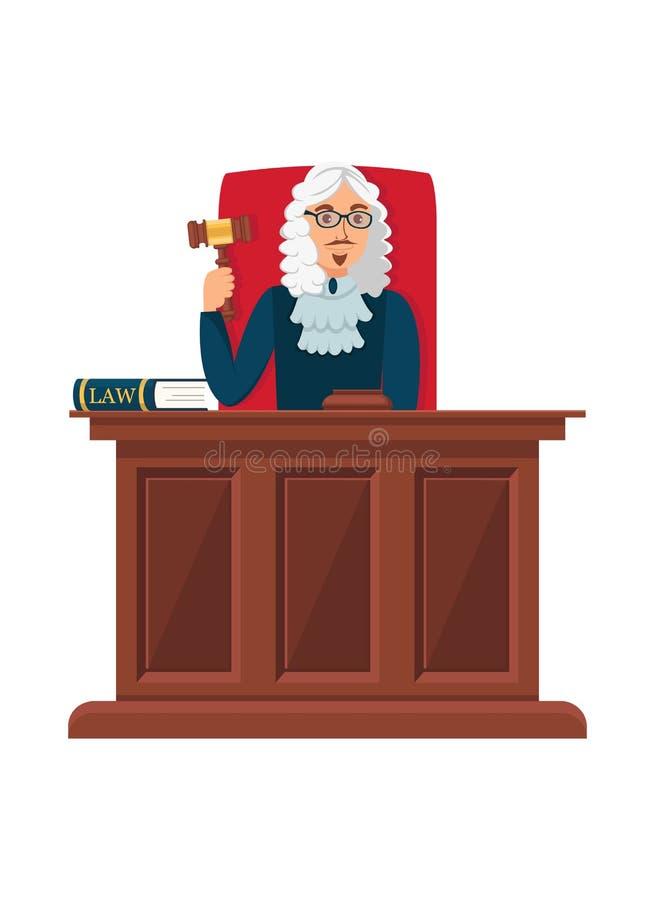 Richter Sitting an der Holztisch-flachen Illustration vektor abbildung