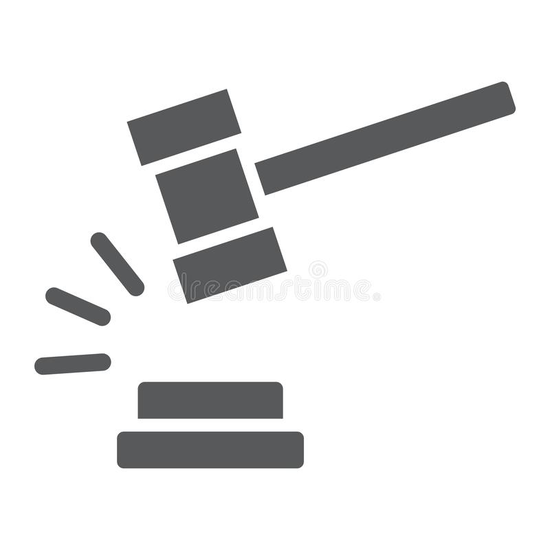 Richterhammer Glyphikone, Urteil und Gesetz, Auktionshammerzeichen, Vektorgrafik, ein festes Muster auf einem weißen Hintergrund stock abbildung