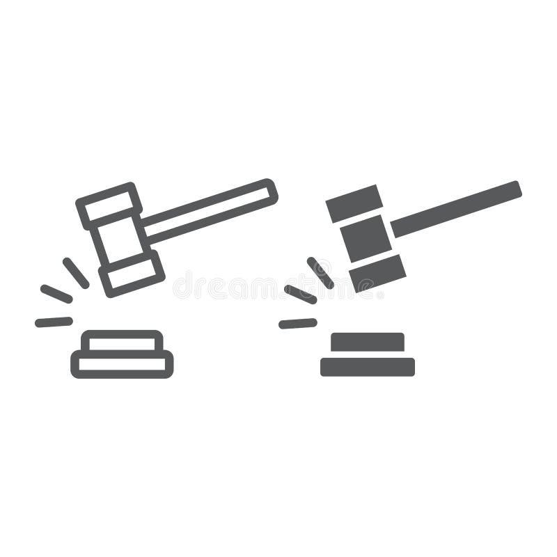 Richterhammerlinie und Glyphikone, Urteil und Gesetz, Auktionshammerzeichen, Vektorgrafik, ein lineares Muster auf einem weißen vektor abbildung