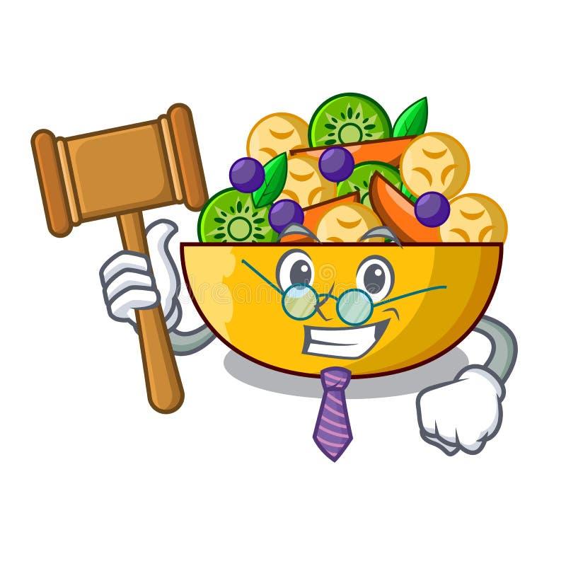 Richternachtisch des Fruchtsalates auf Karikatur lizenzfreie abbildung