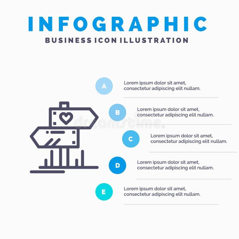 Richting, Liefde, Hart, het pictogram van de Huwelijkslijn met infographicsachtergrond van de 5 stappenpresentatie royalty-vrije illustratie