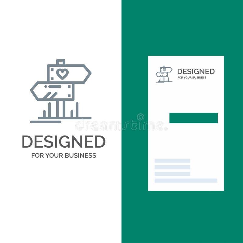 Richting, Liefde, Hart, Huwelijk Grey Logo Design en Visitekaartjemalplaatje vector illustratie