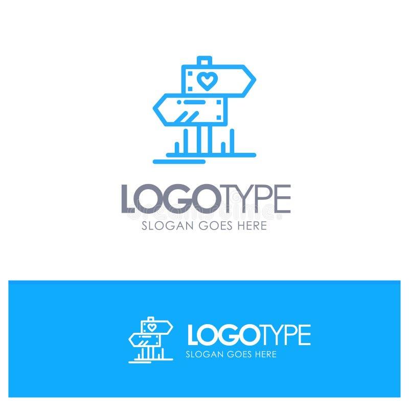 Richting, Liefde, Hart, Huwelijks Blauw Overzicht Logo Place voor Tagline royalty-vrije illustratie