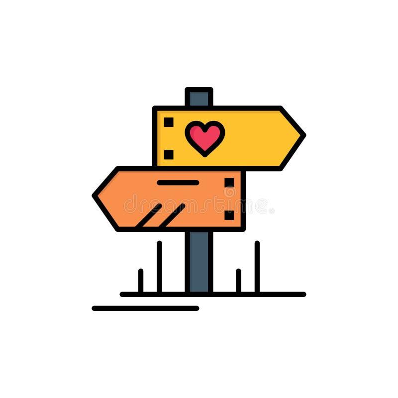 Richting, Liefde, Hart, Pictogram van de Huwelijks het Vlakke Kleur Het vectormalplaatje van de pictogrambanner vector illustratie