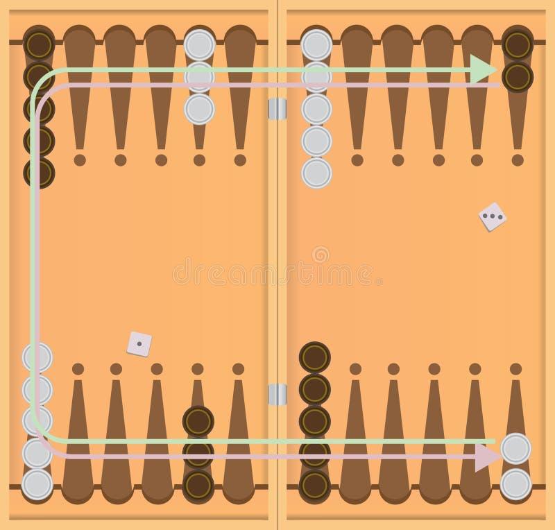 Richting van beweging van spaandersbackgammon stock illustratie