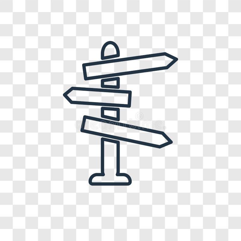 Richting vector lineair die pictogram op transparante backgroun wordt geïsoleerd vector illustratie