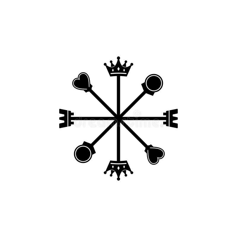 8 richtingen van het embleem van het schaakkompas vector illustratie