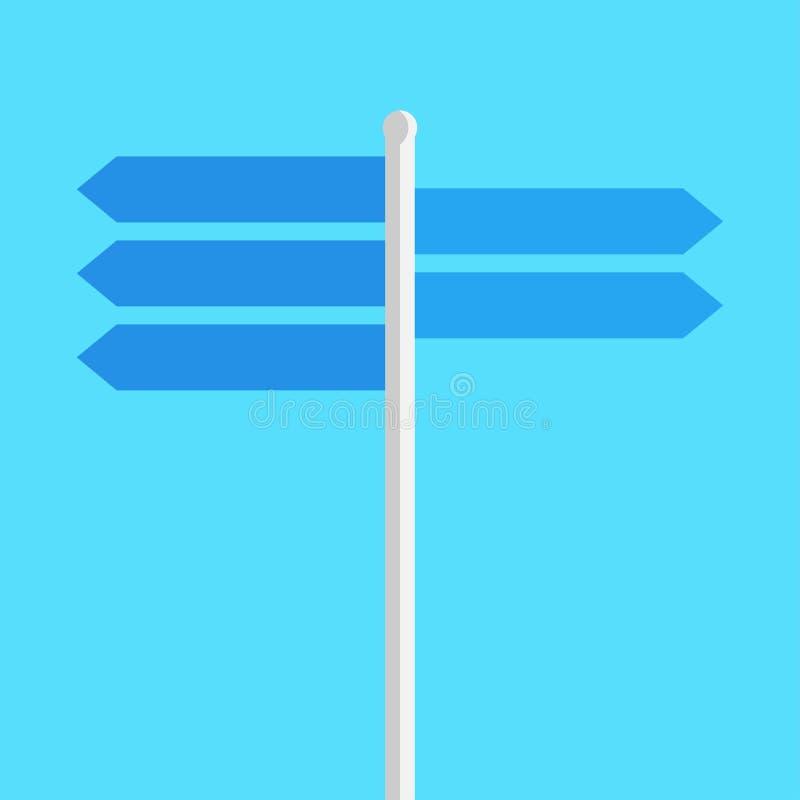 Richtingenteken op de weg lege platen stock illustratie