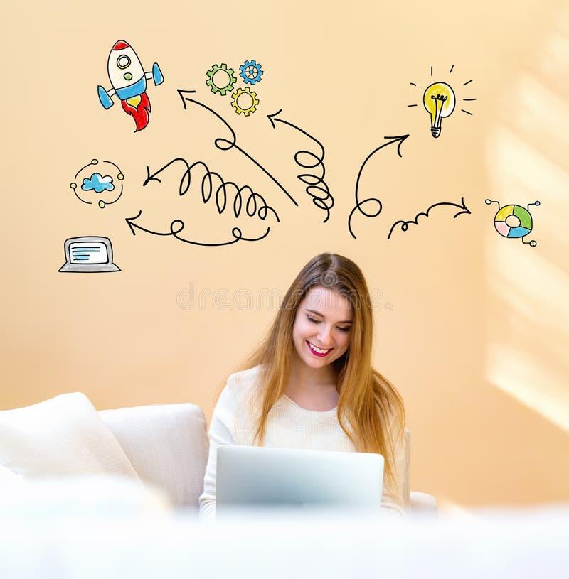 Richtingspijlen met vrouw die laptop met behulp van royalty-vrije stock afbeelding