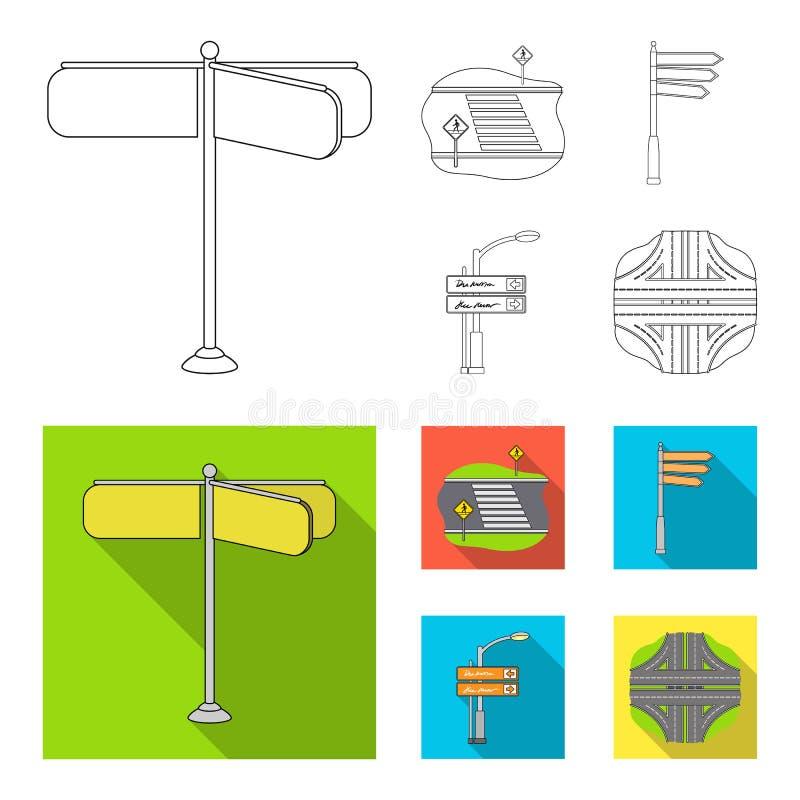Richtingstekens en ander Webpictogram in overzicht, vlakke stijl Wegverbindingen en tekenspictogrammen in vastgestelde inzameling stock illustratie