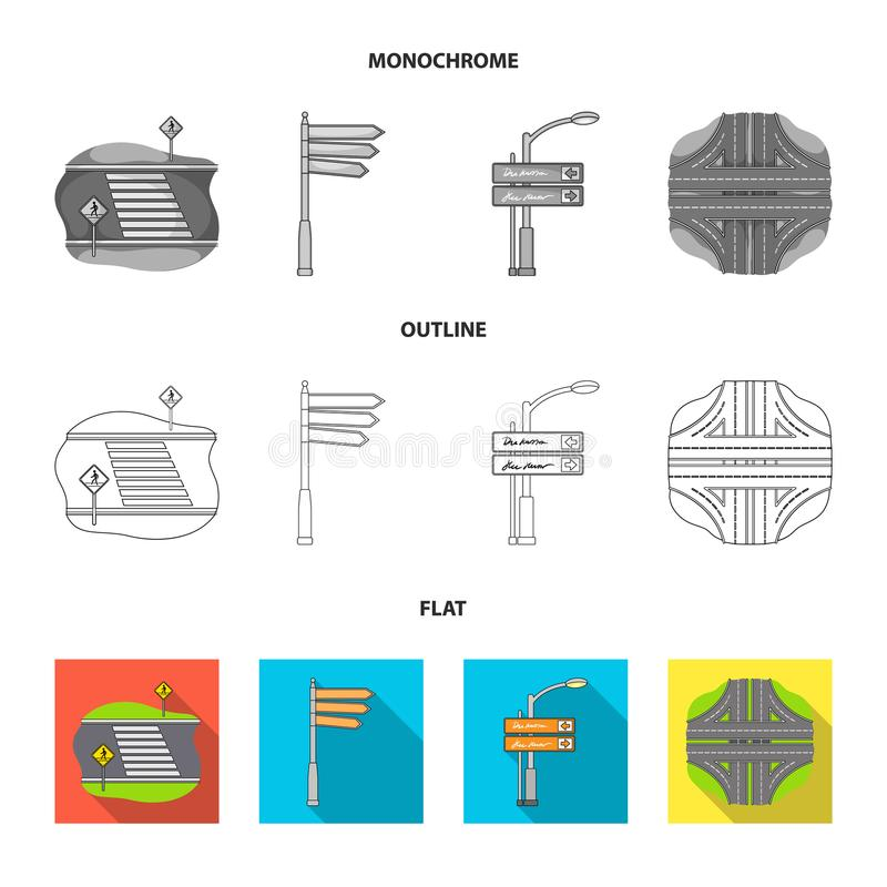 Richtingstekens en ander Webpictogram in vlakte, overzicht, zwart-wit stijl Wegverbindingen en tekenspictogrammen in vastgestelde royalty-vrije illustratie