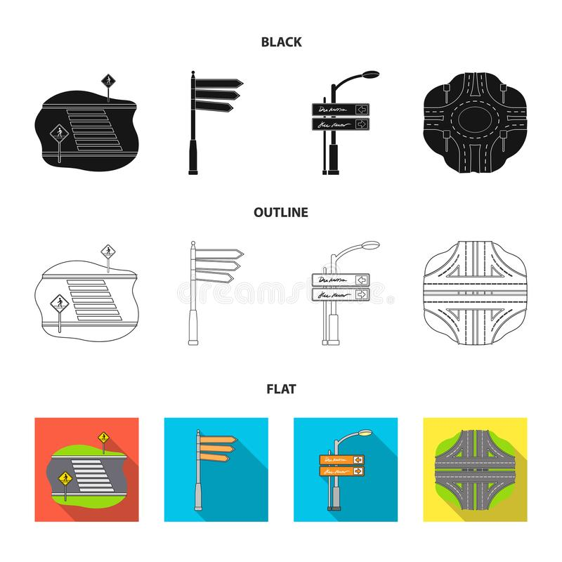 Richtingstekens en ander Webpictogram in zwarte, vlak, overzichtsstijl Wegverbindingen en tekenspictogrammen in vastgestelde inza vector illustratie