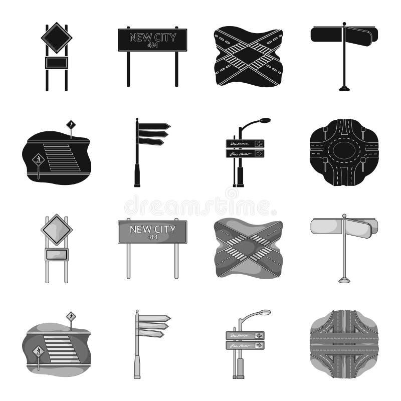 Richtingstekens en ander Webpictogram in zwarte, zwart-wit stijl Wegverbindingen en tekenspictogrammen in vastgestelde inzameling stock illustratie