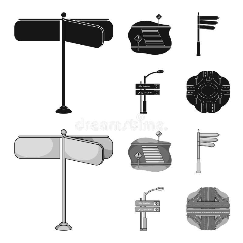 Richtingstekens en ander Webpictogram in zwarte, zwart-wit stijl Wegverbindingen en tekenspictogrammen in vastgestelde inzameling vector illustratie