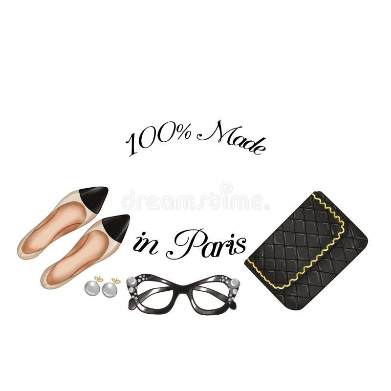 Richtten de manier Parijse punten - dekbedzak - schoenen - glazen en parels royalty-vrije illustratie