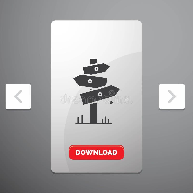 Richtung, Brett, Kampieren, Zeichen, Aufkleber Glyph-Ikone im Carousals-Paginierungs-Schieber-Entwurf u. roter Download-Knopf stock abbildung