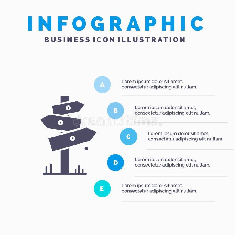 Richtung, Brett, Kampieren, Zeichen, Aufkleber Infographics-Schablone für Website und Darstellung Graue Ikone des GLyph mit blaue vektor abbildung