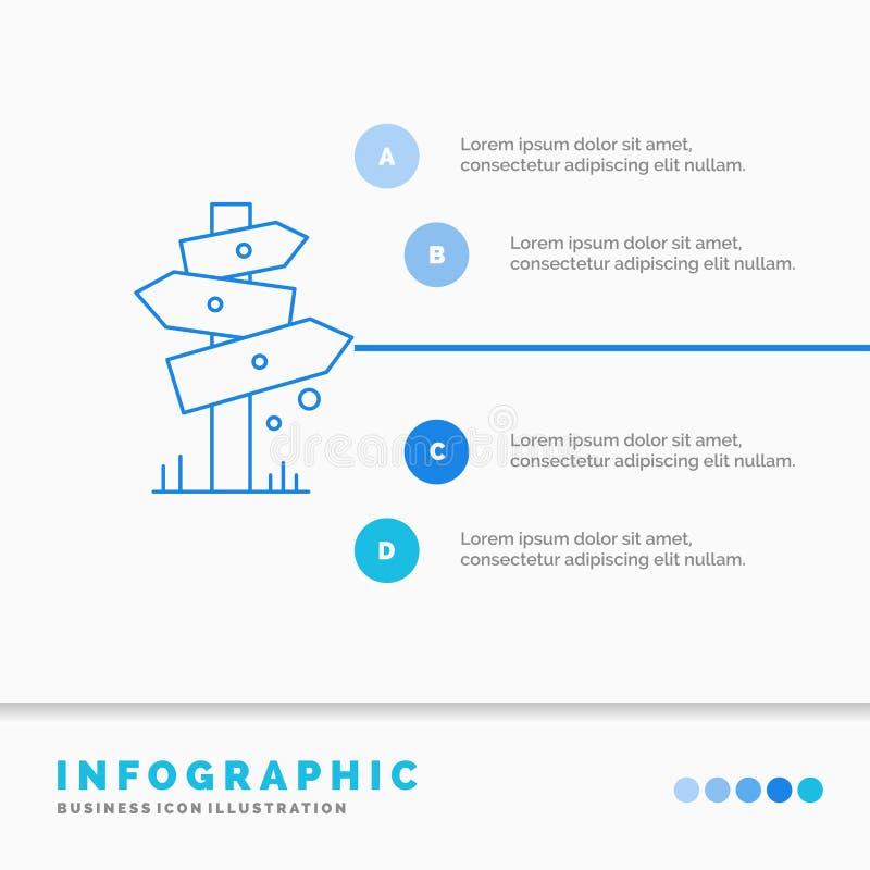 Richtung, Brett, Kampieren, Zeichen, Aufkleber Infographics-Schablone f?r Website und Darstellung Linie infographic Artvektor der vektor abbildung